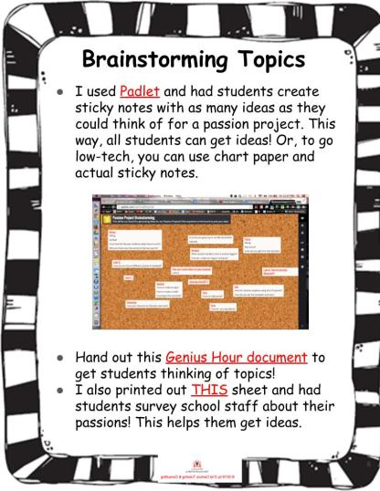 Revised Passion Projects TpT